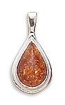 "Small Pear Shape Amber Pendant with FREE 18"" Rhodium Plated Light Rope Chain"