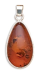 "Oval Baltic Amber Pendant with FREE 18"" Rhodium Plated Light Rope Chain"