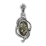 "Oval Green Amber Pendant with Leaf Design with FREE 18"" Rhodium Plated Light Rope Chain"