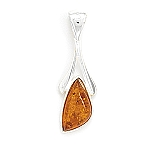 "Abstract 3 Side Baltic Amber Wishbone Pendant with FREE 18"" Rhodium Plated Light Rope Chain"