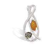 """Cognac and Green Baltic Amber Pendant .925 Sterling Silver with FREE 18"""" Rhodium Plated Light Rope Chain"""