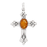 """Oxidized Cross Pendant with Cognac Amber .925 Sterling Silver with FREE 18"""" Rhodium Plated Light Rope Chain"""