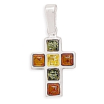 """Multicolor Amber Cross Pendant .925 Sterling Silver with FREE 18"""" Rhodium Plated Light Rope Chain"""