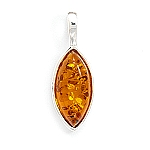 """Marquise Cognac Amber Pendant .925 Sterling Silver with FREE 18"""" Rhodium Plated Light Rope Chain"""