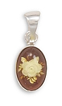 "Hand Carved Baltic Amber Pendant .925 Sterling Silver with FREE 18"" Rhodium Plated Light Rope Chain"