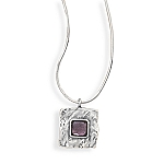 Snake Chain Necklace with Square Amethyst Pendant With A FREE Set of Matching Earrings!