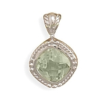 """Rhodium Plated Green Amethyst Pendant with FREE 18"""" Rhodium Plated Light Rope Chain"""