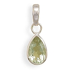 "Pear Shape Green Amethyst Pendant with FREE 18"" Rhodium Plated Light Rope Chain"