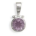 "Hinged Amethyst Pendant with FREE 18"" Rhodium Plated Light Rope Chain and FREE French Wire Earrings with Tri Shape and Round Amethyst Drop!"