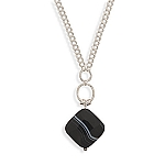 """18""""+2""""Extension Charm Chain Necklace with Banded Black Onyx"""