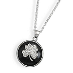 """18"""" Black Onyx and CZ Clover Necklace"""