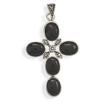 """Black Onyx and Marcasite Cross Pendant with FREE 18"""" Rhodium Plated Light Rope Chain"""
