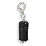 """Banded Black Onyx Charm .925 Sterling Silver with FREE 18"""" Rhodium Plated Light Rope Chain"""