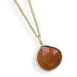 """16""""+1""""+1""""Extension 14 Karat Gold Plated Carnelian Necklace With A FREE Set of Matching Earrings!"""