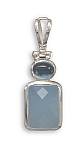 """Chalcedony and Blue Topaz Pendant .925 Sterling Silver with FREE 18"""" Rhodium Plated Light Rope Chain"""