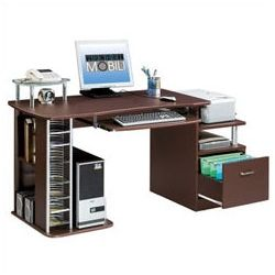 Decor > Home Office > Wide Chocolate Multifunctional Computer Desk