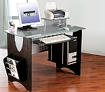 Small Espresso Glass Top Computer Desk
