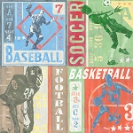 Sports Collage Vintage Tin Sign