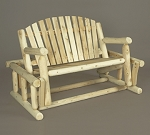 Unstained Natural Cedar Log Style Glider Bench