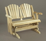 Unstained Natural Cedar Loveseat Glider Chair