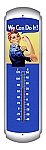 Rosie The Riveter Metal Thermometer