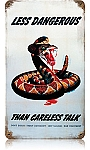Dangerous Snake Vintage Metal Sign