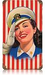 Salute Girl Vintage Metal Sign