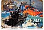 Enlist in the Navy Vintage Metal Sign