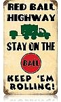 Red Ball Highway Vintage Metal Sign