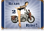 Navy Ready 2 Ride Vintage Metal Sign
