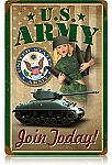 Army Pin Up Vintage Metal Sign