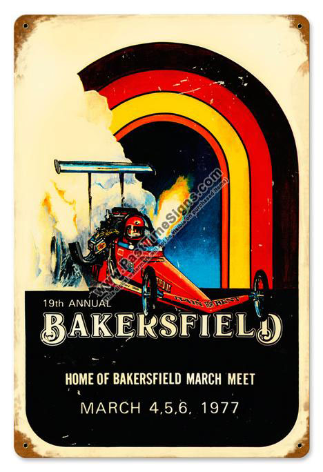 19th Annual Bakersfield Drags Vintage Metal Sign