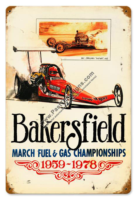 Bakersfield Gas & Fuel Drags Metal Sign