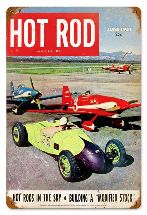 hot rod magazine hot rods in the sky vintage metal sign. Black Bedroom Furniture Sets. Home Design Ideas