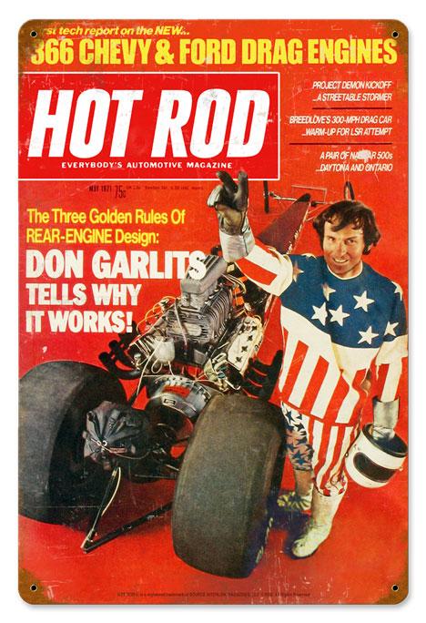 hot rod magazine garlits may 1971 vintage metal sign. Black Bedroom Furniture Sets. Home Design Ideas