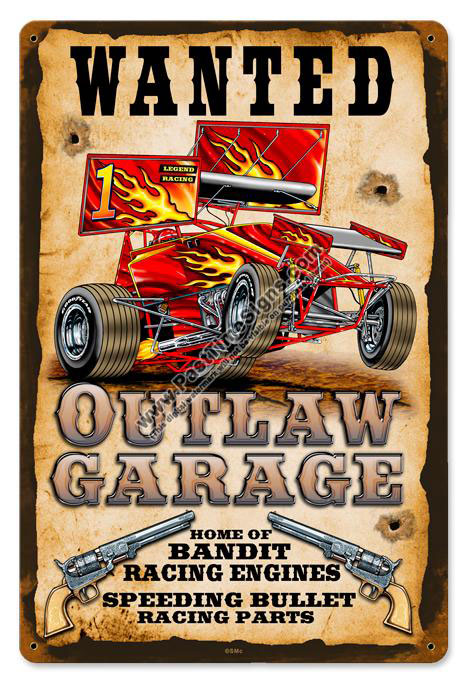 Automotive Tin Signs : Wanted outlaw garage vintage metal sign