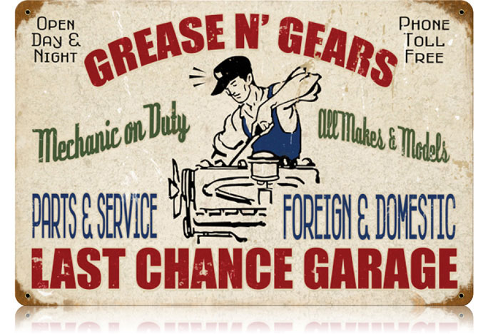 Car Old Garage Signs : Grease gears garage vintage metal sign