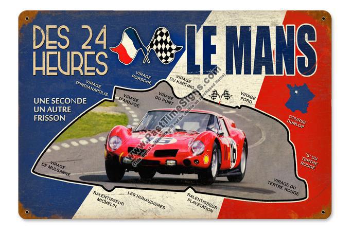24 Hours At Le Mans Vintage Metal Sign