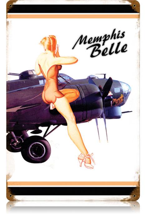 Memphis Belle Pinup Vintage Metal Sign