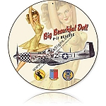 Big Beautiful Doll P-51 Round Metal Sign