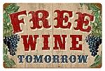 Free Wine Vintage Metal Sign