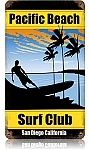 Pacific Beach Surf Club Metal Sign