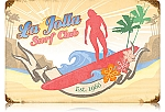 La Jolla Surf Club Vintage Metal Sign