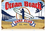 Ocean Beach Surf Club Vintage Metal Sign