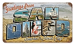 San Diego Postcard Vintage Metal Sign
