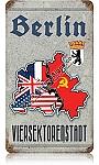 Berlin Vier Sektoren Stadt Vintage Metal Sign