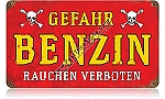 Gefahr Benzin (Danger Gasoline) Vintage Metal Sign