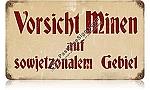 Vorsicht Minen Vintage Metal Sign