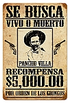 Se Busca (Wanted) Pancho Villa Vintage Metal Sign