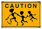 Caution Alien Crossing Vintage Metal Sign